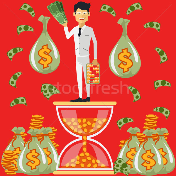 Businessman standing on the hourglass Stock photo © robuart