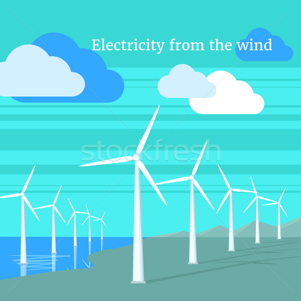Stock photo: Electricity From Wind Design Flat
