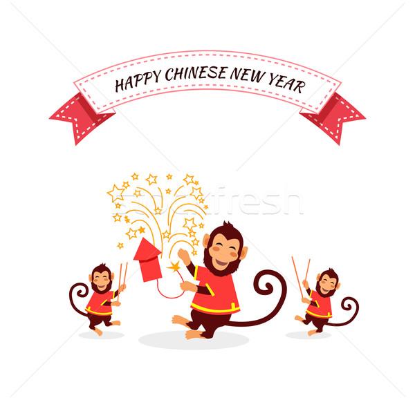 Foto stock: Ano · novo · macaco · cartão · feliz · ano · novo · chinês · 2016