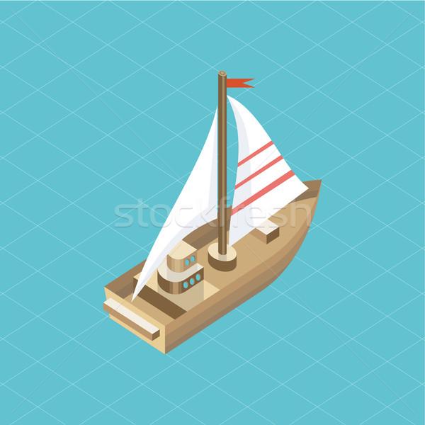 Yacht at Sea Isolated Icon Isometric Stock photo © robuart