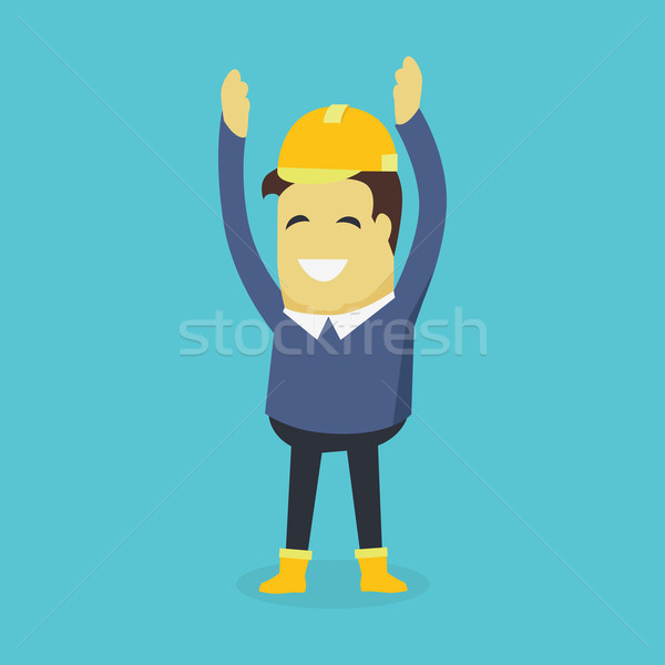 Boldog építész sisak előadás kezek magasban fiatal Stock fotó © robuart