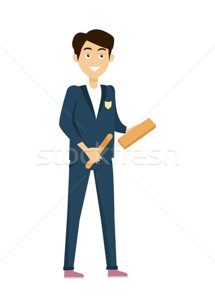 Schüler isoliert Zeichen blau Jacke pants Stock foto © robuart