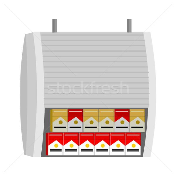 Shelve with Cigarettes Packs Vector Illustration.  Stock photo © robuart