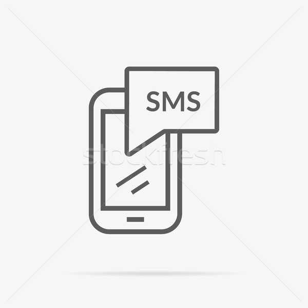 Simples mensagens ícone ilustração projeto cinza Foto stock © robuart
