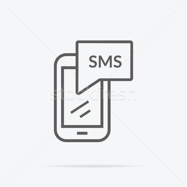 Basit mesajlaşma ikon örnek dizayn gri Stok fotoğraf © robuart