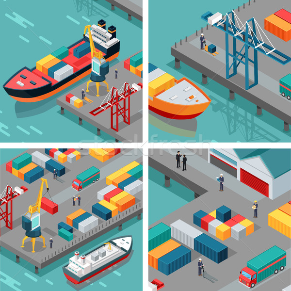 Cargo Port Illustrations in Isometric Projection Stock photo © robuart