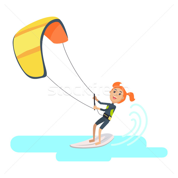 Woman Takes Part at Kite Surfing Spain Festival Stock photo © robuart