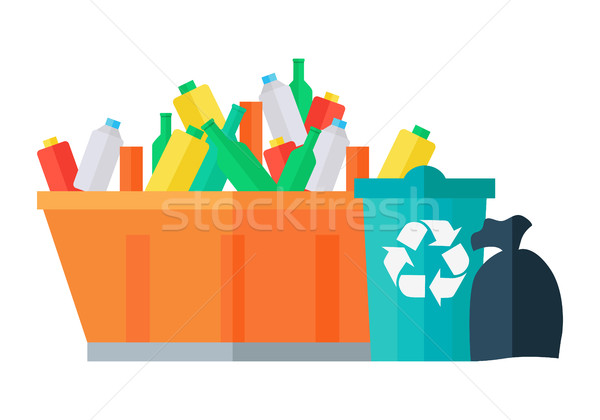 Containers for Garbage Vector in Flat Design.  Stock photo © robuart