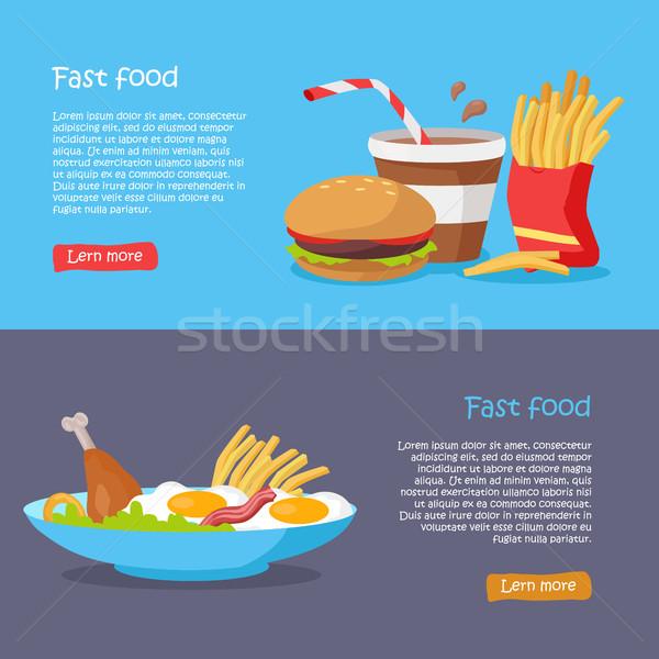 Fast food stijl vector web banners vectoren Stockfoto © robuart