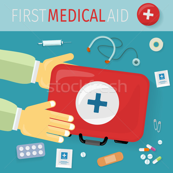 First Medical Aid kit and its Content. Equipment Stock photo © robuart