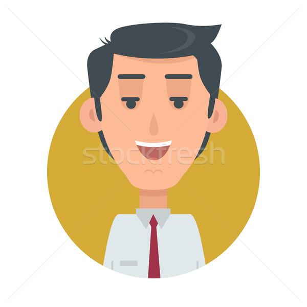 Sikeres férfi avatar gomb boldog férfi Stock fotó © robuart