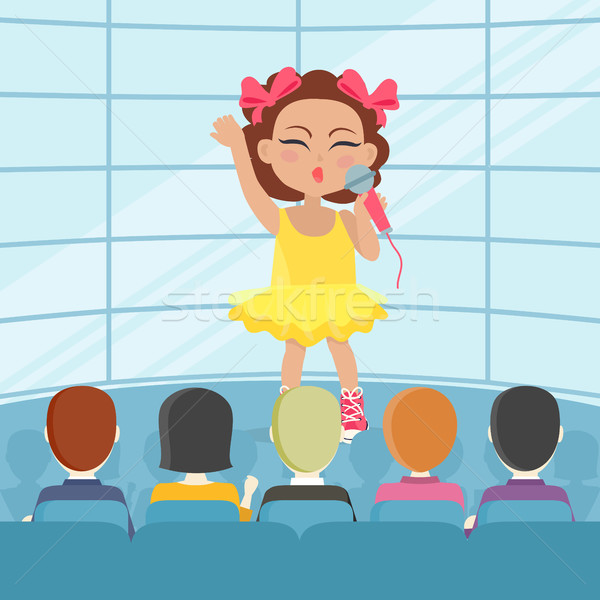 Girl Singing Song in Front of Audience. Vector Stock photo © robuart