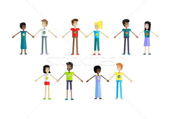 Conjunto humanismo ilustrações sorridente povos Foto stock © robuart