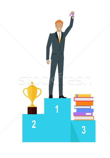 Persoon permanente winnaars podium vector geslaagd Stockfoto © robuart