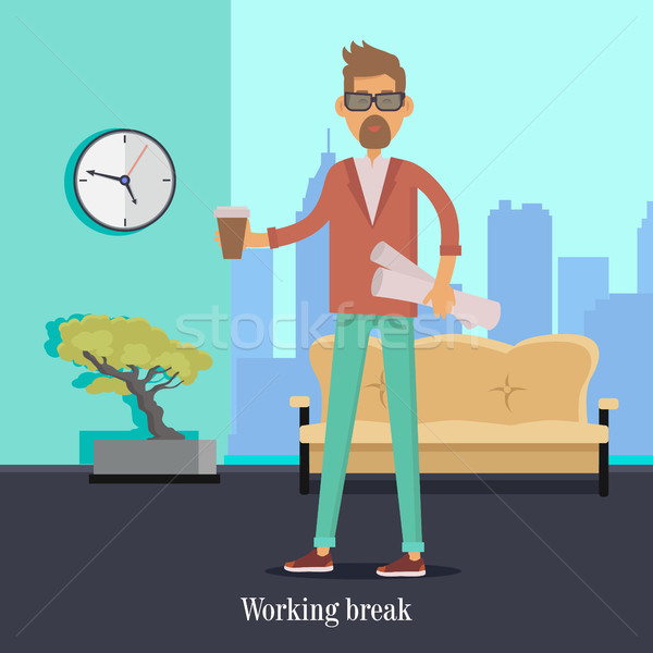 Working Break. Man with Cup of Coffee Holds Papers Stock photo © robuart