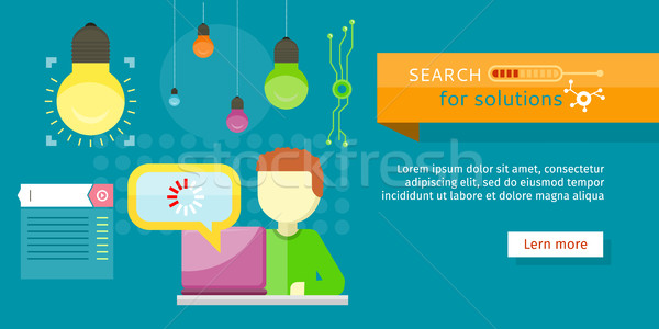 Search for Solutions Banner. Person Working Vector Stock photo © robuart