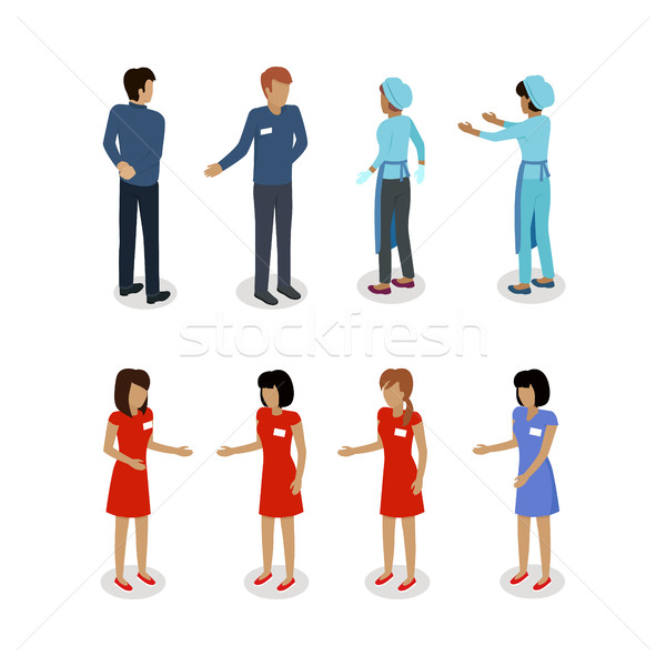Set of Sellers Characters Vector Shop Assistans Stock photo © robuart