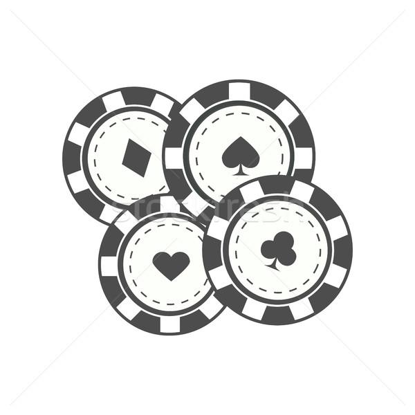 Jeux puces design vecteur monochrome noir Photo stock © robuart