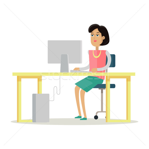 Stock photo: Business Woman Works on His Desktop