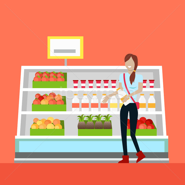 Mulher diariamente compras comércio sorrindo Foto stock © robuart