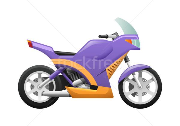 изолированный фиолетовый мотоцикл волнистый оранжевый линия Сток-фото © robuart