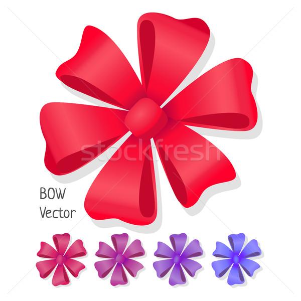 Stockfoto: Boeg · vector · ingesteld · luxe · bloem