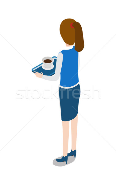 Restaurant. Turned Waitress with Tray in Hands Stock photo © robuart