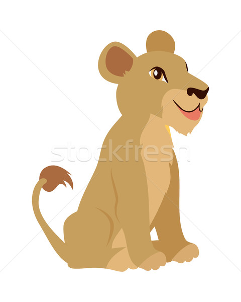 Lioness or Lion Cub Cartoon Icon in Flat Design Stock photo © robuart