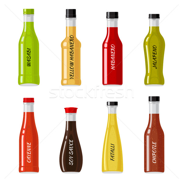 Set of Glass Bottles Full of Hot Sauces Vectors Stock photo © robuart