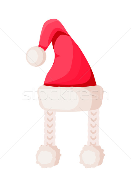 Santa Claus Hat with Two Braids Isolated on White. Stock photo © robuart
