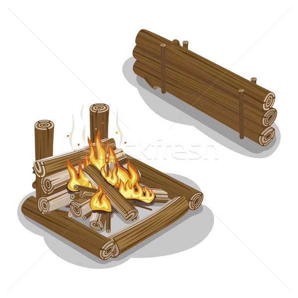 たき火 難 孤立した 白 暖炉 ストックフォト © robuart