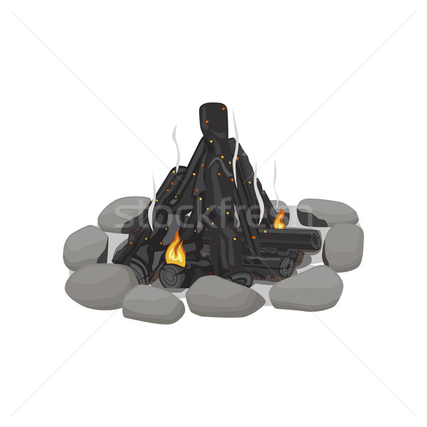 Smoldering Bonfire Lined with Stones on White Stock photo © robuart