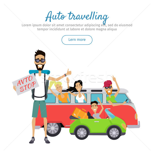 Auto Traveling Flat Design Vector Web Banner  Stock photo © robuart