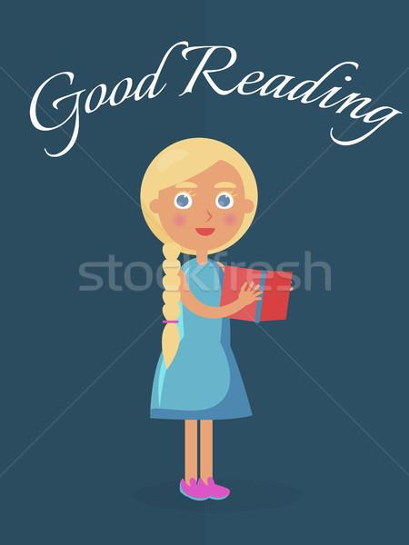Gut Lesung Plakat Mädchen Illustration Stock foto © robuart