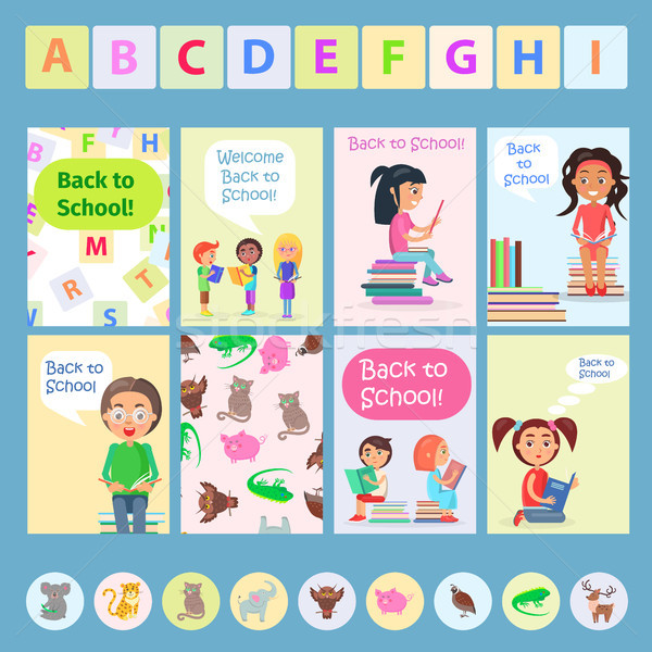 Welcome Back to School Card with Reading Kids Stock photo © robuart