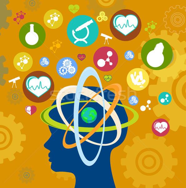Establecer iconos humanos ciencia tecnología Foto stock © robuart