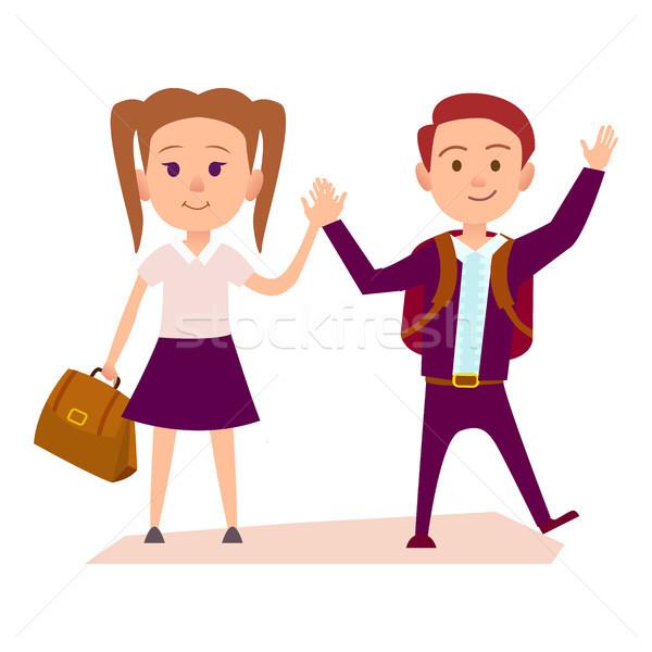Сток-фото: школьник · школьница · рук · иллюстрация · рюкзак
