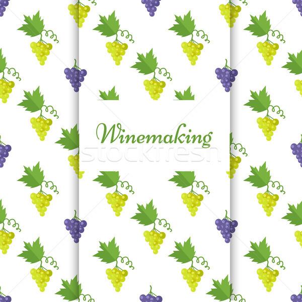 Vinificação cartaz isolado uvas vetor roxo Foto stock © robuart