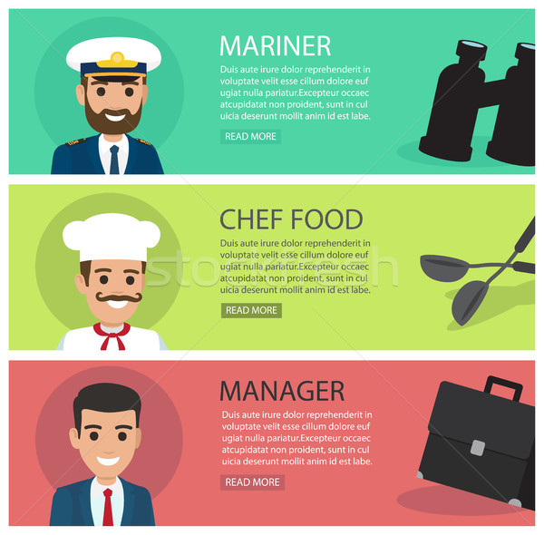 People Professions Fat Vector Web Banners Set Stock photo © robuart