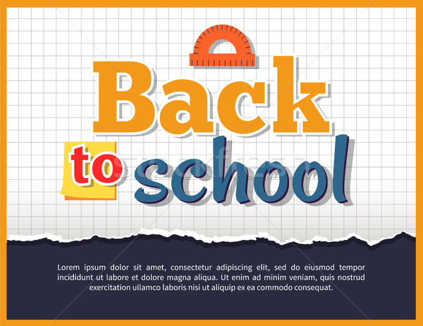 Back to School Posteron on Checkered Background Stock photo © robuart