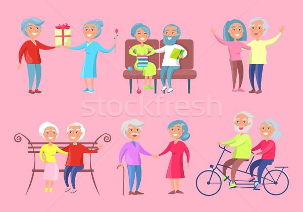Smiling Older People Isolated Illustration on Pink Stock photo © robuart