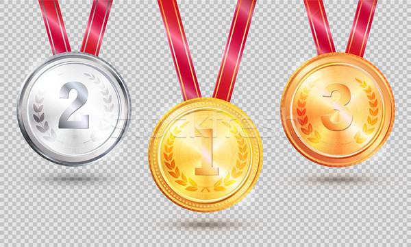 Three Medals Vector Illustration on Transparent Stock photo © robuart