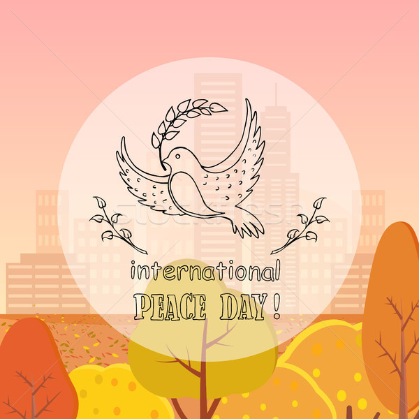 Dove of Peace With Twig Vector Illustration Autumn Stock photo © robuart