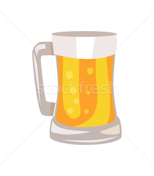 Bögre világos sör izolált fehér hagyományos alkohol Stock fotó © robuart