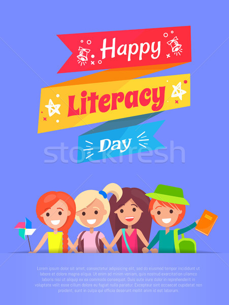 Happy Literacy Day Banner Vector Illustration Stock photo © robuart