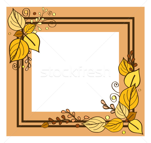 Autumn Frame Consisting of Two Lines Leaves Vector Stock photo © robuart