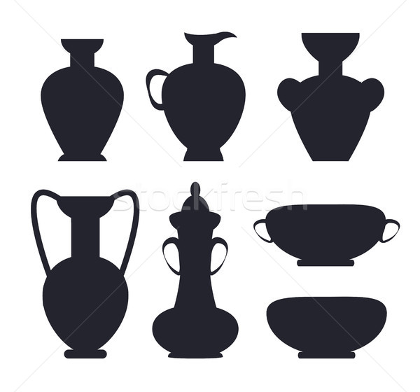 Ancient Vases Black Silhouettes Isolated Vector Stock photo © robuart