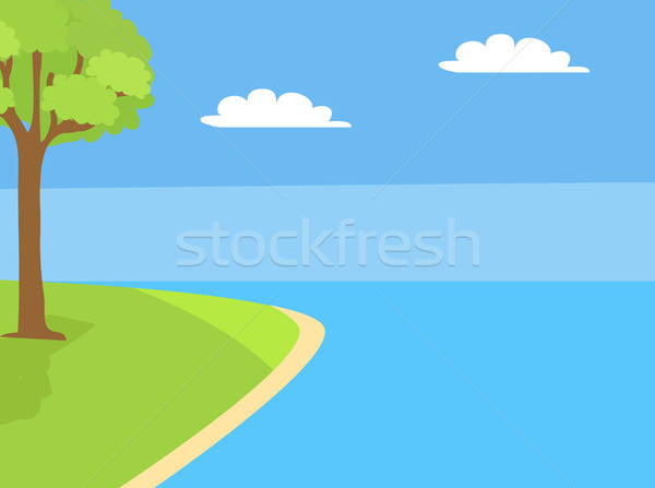 Scenery Landscape with River, Tree Grown on Lawn Stock photo © robuart