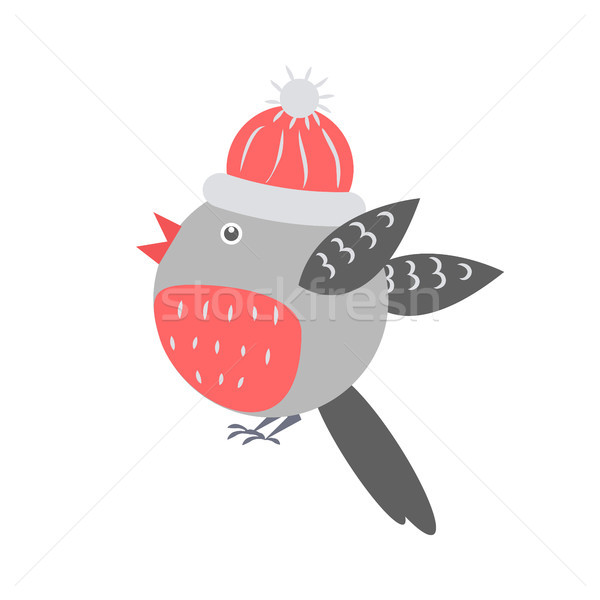 Closeup of Bullfinch with Hat Vector Illustration Stock photo © robuart