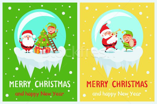 Vidám karácsony manó csillag boldog új évet áll Stock fotó © robuart